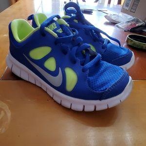 Nike free 5.0 neon green & blue size 1Y